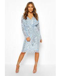 Boohoo Bridesmaid Occasion Sequin Plunge Midi Dress - Blue