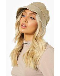 Boohoo Canvas Frayed Denim Bucket Hat - Natural