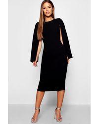 Boohoo - Petite Cape Sleeve Midi Dress - Lyst