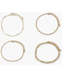 Boohoo - Mix Chain 4 Pack Anklets - Lyst