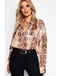 Boohoo Womens Plus Snake Print Oversized Shirt - Brown - 18