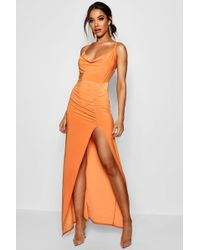 Boohoo - Cowl Neck Ruched Detail Maxi Dress - Lyst