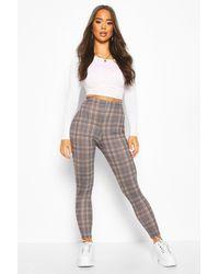 Boohoo Tonal Check Basic Jersey Leggings - Grey