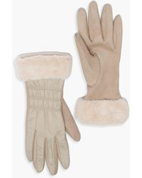 Boohoo Padded Faux Fur Trim Gloves - Natural