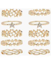 Boohoo Diamante Star Stacking Ring Pack - Metallic