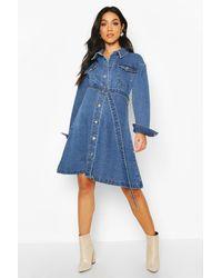 Boohoo Maternity Button Front Denim Shirt Dress - Bleu