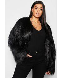 Boohoo Plus Shaggy Faux Fur Jacket - Black