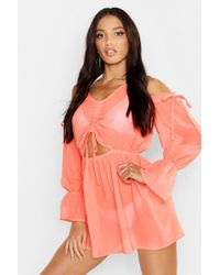3f25a9620bb73 ASOS Tie Dye Cold Shoulder Beach Cover Up in Black - Lyst