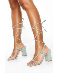 Boohoo Strappy Knot Detail Block Heels - Green