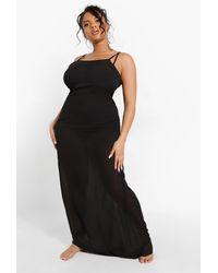 Boohoo Plus Chiffon Beach Maxi Dress - Negro