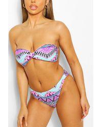 Boohoo Neon Mixed Print Twist Bandeau Bikini - Rose