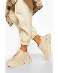 Boohoo Chunky Cleated Sole Trainers - Natural