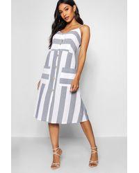 Boohoo - Womens Wide Stripe Cami Midi Dress - Blue - 4 - Lyst
