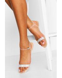 Boohoo Diamante Strap Jelly Sandals - Natural