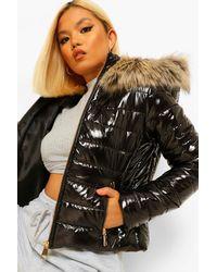 Boohoo Petite Faux Fur Trim High Shine Fitted Puffer - Black