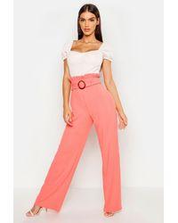 Boohoo Womens Paperbag Mock Horn Wide Leg Trouser - Orange