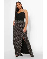 Boohoo Plus Ditsy Floral Split Maxi Skirt - Nero