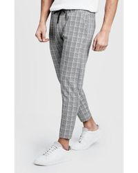 Boohoo - Checked Tape Cropped Smart Jogger - Lyst