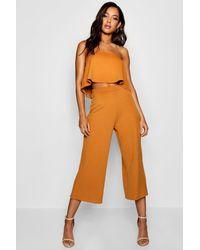 Boohoo Bandeau Top & Culottes Co-ord Set - Orange