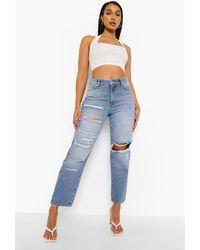 Boohoo Mid Rise Distressed Straight Leg Jeans - Blue