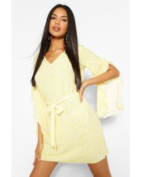 Boohoo Ditsy Floral Print V Neck Wide Sleeve Shift Dress - Yellow