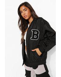 Boohoo Varsity Oversized Bomber Jacket - Black