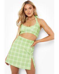 Boohoo Flanneled Halterneck Crop And Mini Skirt - Green