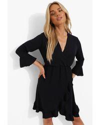 Boohoo Ruffle Flare Sleeve Skater Dress - Black