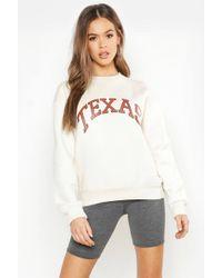 Boohoo - Texas Oversized Slogan Sweat - Lyst
