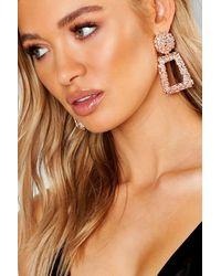 Boohoo Textured Oversized Statement Earrings - Metallic