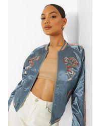 Boohoo Satin Embroidered Varsity Jacket - Blue
