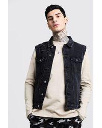 414b547df73fea Lyst - ASOS Sleeveless Denim Jacket with Acid Wash in Black for Men