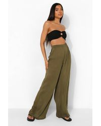 Boohoo Conjunto De Pantalones Acampanados De Estopilla Tall - Verde