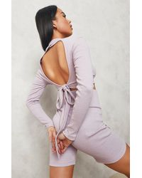 Boohoo High Neck Tie Back Crop Top - Viola