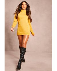 Boohoo Womens Recycled Roll Neck Sweater Dress - Yellow