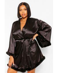Boohoo Gemma Collins Short Kimono Robe With Fluffy Sleeve - Black