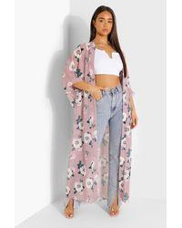 Boohoo Rose Print Woven Maxi Kimono - Pink