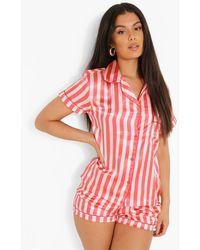 Boohoo Striped Satin Pyjama Short Set - Multicolour