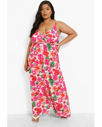 Boohoo Plus Large Floral Button Front Maxi Dress - Bianco
