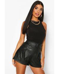 Boohoo Petite Faux Leather Belted Utility Pocket Short - Black