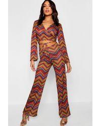 Boohoo - Geo Knit Sub Print Straight Leg Trouser - Lyst