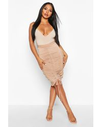 Boohoo - Womens Ruched Drawstring Midi Skirt - Beige - 4 - Lyst