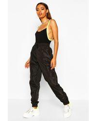 Boohoo Womens High Waist Shell Suit Track Pant - Black - 4