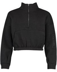 Boohoo Petite Zip Front Pocket Cropped Sweatshirt - Black