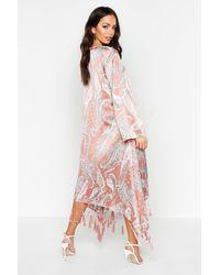 Boohoo Paisley Tassel Hem Kimono - Brown