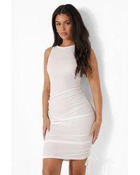 Boohoo Rib Racer Front Drawstring Side Beach Dress - Bianco