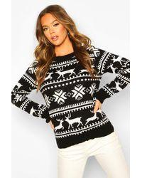 Boohoo Womens Pullover mit weihnachtlichem Norwegermuster - Schwarz
