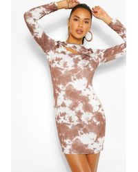 Boohoo The Cut Out Tie Dye Mini Dress - Brown