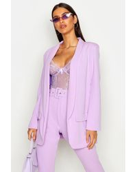 Boohoo Tailored Blazer And Wide Leg Trousers Suit Set - Purple