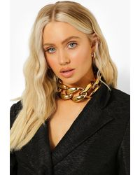 Boohoo Super Oversized Chunky Choker Necklace - Metallizzato